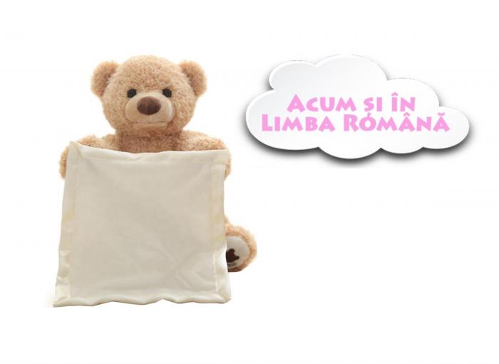 Jucarie interactiva, Ursulet de plus Cucu Bau, Peek a Boo, vorbeste in Limba Romana, Smartic®, crem [2]