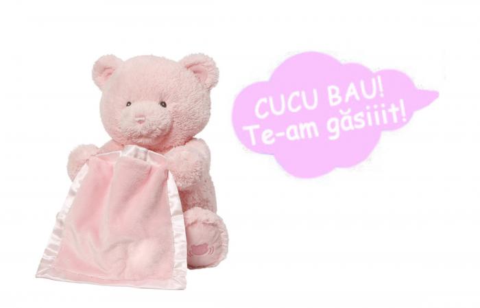 Jucarie interactiva, Ursulet de plus Cucu Bau, Peek a Boo, vorbeste in Limba Romana, Smartic®, roz [6]
