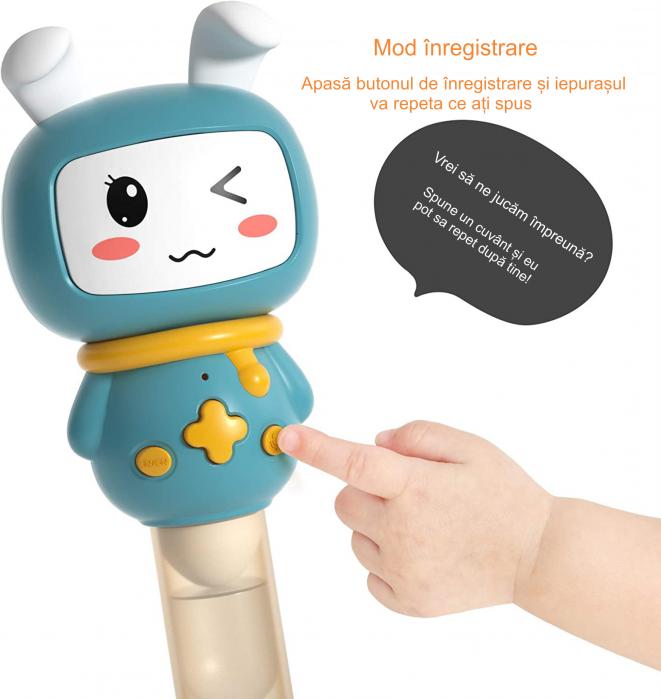 Jucarie interactiva zornaitoare pentru copii si bebelusi Maracas, cu sunete si lumini, design Iepuras, plastic/silicon, varsta +6 luni, Tumama®, albastru [5]