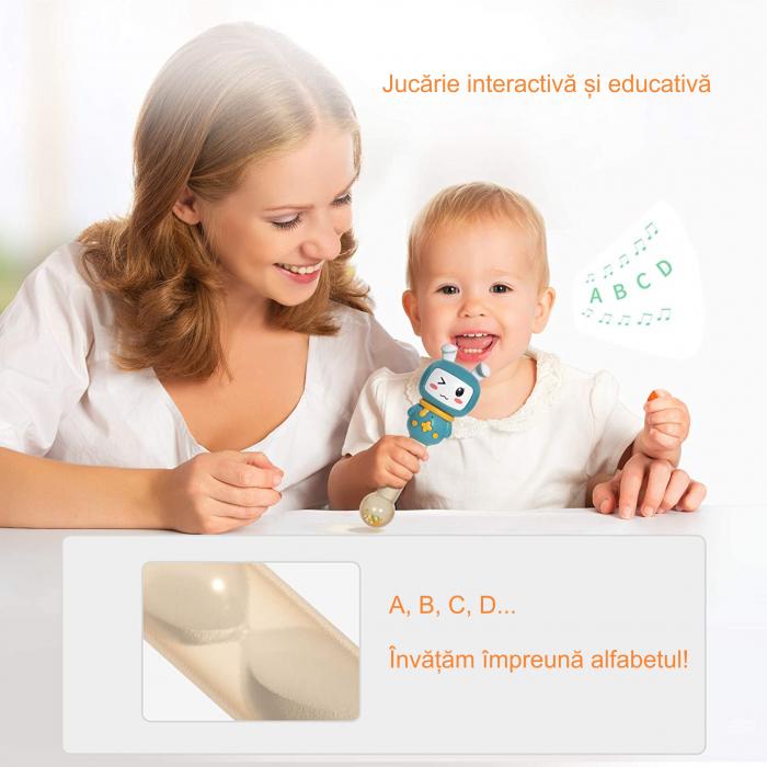Jucarie interactiva zornaitoare pentru copii si bebelusi Maracas, cu sunete si lumini, design Iepuras, plastic/silicon, varsta +6 luni, Tumama®, albastru [6]