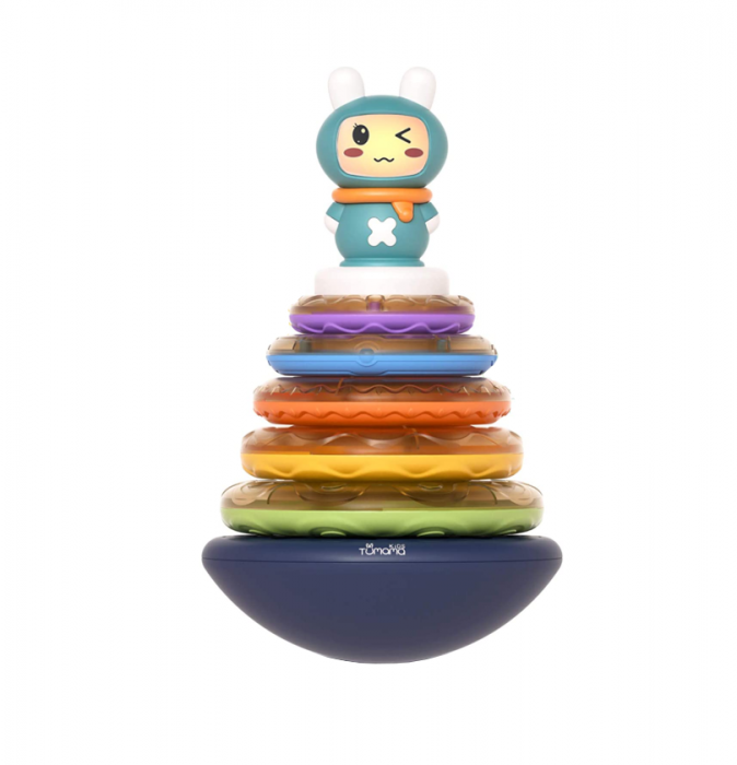 Jucarie muzicala interactiva zornaitoare 3 in 1, tip piramida, 5 cercuri multicolore, design Iepuras, Tumama®, multicolor 0