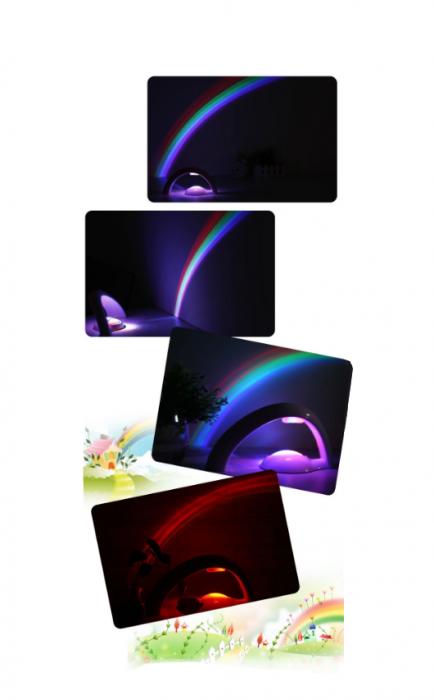 Lampa cu proiectie curcubeu, pentru copii, cu LED-uri multicolore, 2 moduri iluminare, Smartic® [7]