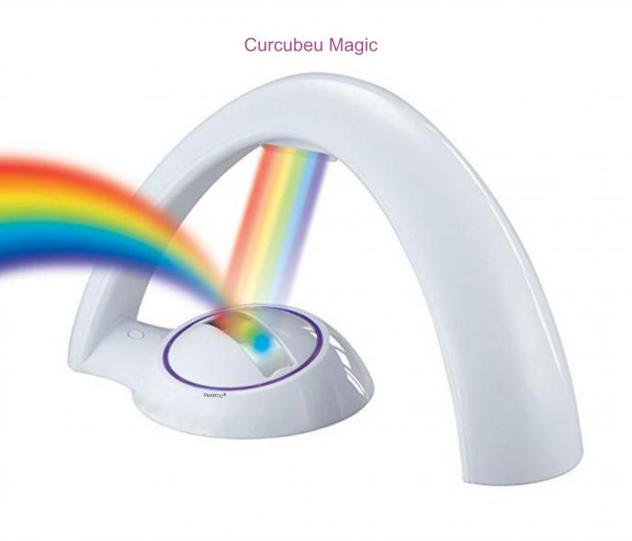 Lampa cu proiectie curcubeu, pentru copii, cu LED-uri multicolore, 2 moduri iluminare, Smartic® [4]