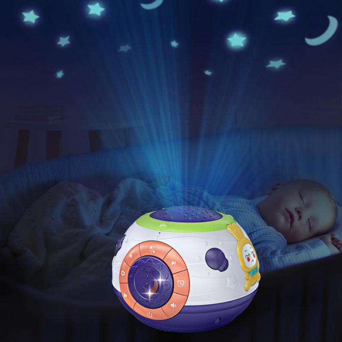 Lampa de veghe Minge Magica  Tumama® interactiva, cu proiector stelute, variatii de culori, sunete, 14x18 cm, multicolor 5