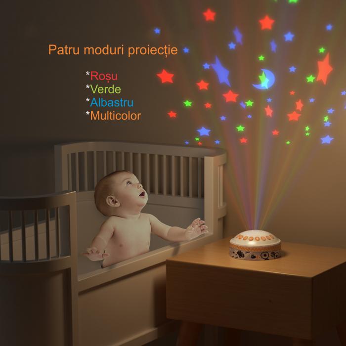 Lampa de veghe pentru copii si bebelusi, cu sunete si variatii de culori, control telecomanda, Tumama®, alb [5]