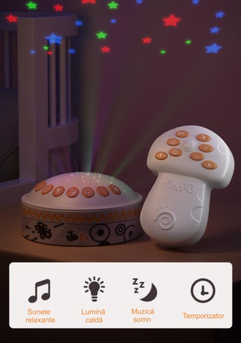 Lampa de veghe pentru copii si bebelusi, cu sunete si variatii de culori, control telecomanda, Tumama®, alb [4]