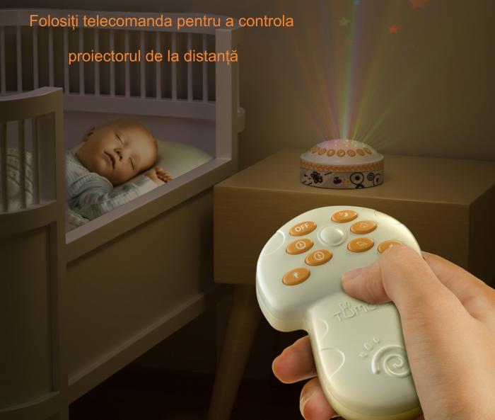 Lampa de veghe pentru copii si bebelusi, cu sunete si variatii de culori, control telecomanda, Tumama®, alb [6]