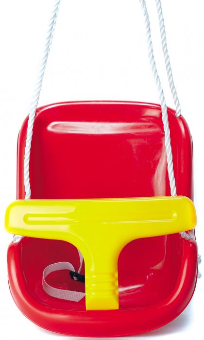 Leagan pentru copii Smartic, cu cadru metalic si sistem de siguranta, rosu/galben [2]