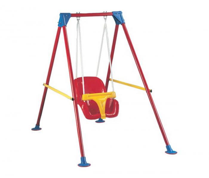 Leagan pentru copii Smartic, cu cadru metalic si sistem de siguranta, rosu/galben [0]