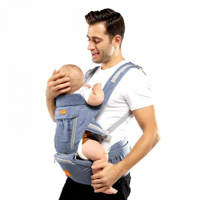 Marsupiu ergonomic 3 in 1 Tumama®, pentru bebelusi, bumbac organic, 0 – 36 luni, cu scaunel detasabil, albastru 1