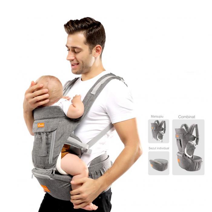 Marsupiu ergonomic 3 in 1 Tumama®,pentru bebelusi, din bumbac organic, 0 – 36 luni, cu scaunel detasabil, gri 1