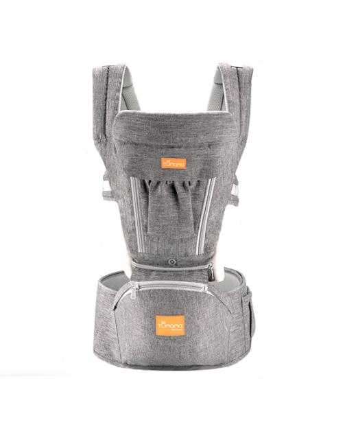 Marsupiu ergonomic 3 in 1 Tumama®,pentru bebelusi, din bumbac organic, 0 – 36 luni, cu scaunel detasabil, gri 0