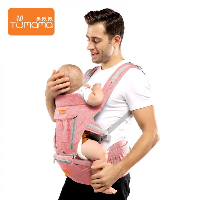 Marsupiu ergonomic 3 in 1 Tumama®,pentru bebelusi, din bumbac organic, 0 – 36 luni, cu scaunel detasabil, roz 1