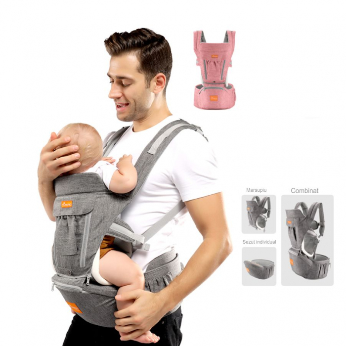 Marsupiu ergonomic 3 in 1 Tumama®,pentru bebelusi, din bumbac organic, 0 – 36 luni, cu scaunel detasabil, roz 3