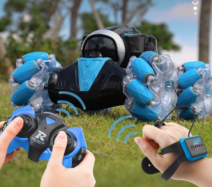Masina cu telecomanda si control inductie Stunt Car, Lumini si Sunet, Cascadorii, Rotire 360ᵒ Frecventa 2.4Ghz, scara 1:16, Smartic®, albastru 3