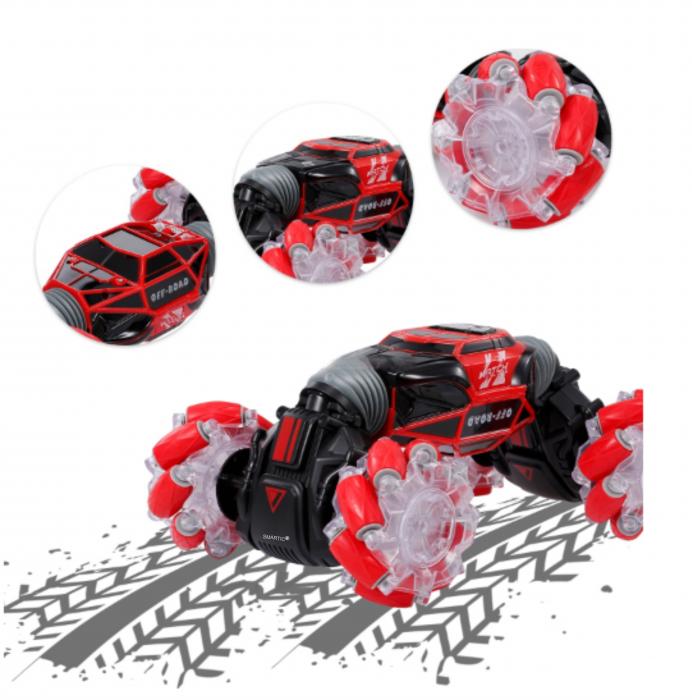 Masina cu telecomanda si control inductie Stunt Car, Lumini si Sunet, Cascadorii, Rotire 360ᵒ Frecventa 2.4Ghz, scara 1:16, Smartic®, rosu 7