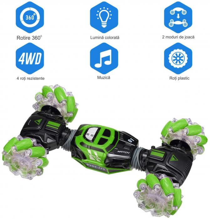 Masina cu telecomanda si control inductie Stunt Car, Lumini si Sunet, Cascadorii, Rotire 360ᵒ Frecventa 2.4Ghz, scara 1:16, Smartic®, verde 8