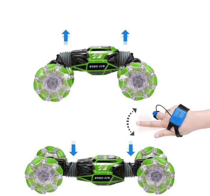 Masina cu telecomanda si control inductie Stunt Car, Lumini si Sunet, Cascadorii, Rotire 360ᵒ Frecventa 2.4Ghz, scara 1:16, Smartic®, verde 2