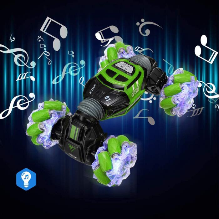 Masina cu telecomanda si control inductie Stunt Car, Lumini si Sunet, Cascadorii, Rotire 360ᵒ Frecventa 2.4Ghz, scara 1:16, Smartic®, verde 4