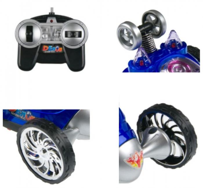 Masina pentru copii cu telecomanda, rotatie 360ᵒ, 6 roti, Smartic, 12x10x9 cm, albastru 3