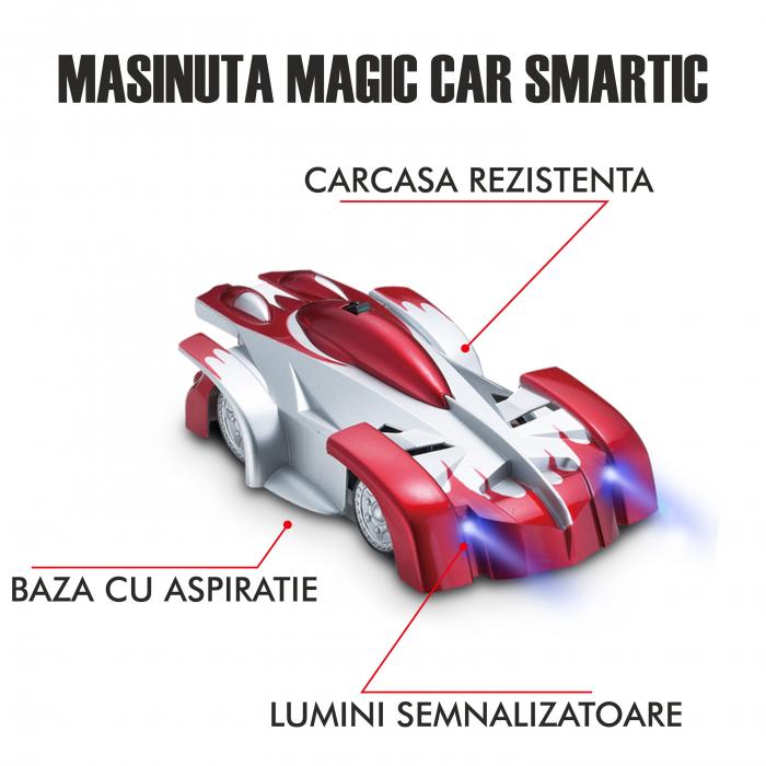 Masinuta Magic Car, Smartic, urca pe tavan, perete, fereastra si podea, +3 ani, rosu 2