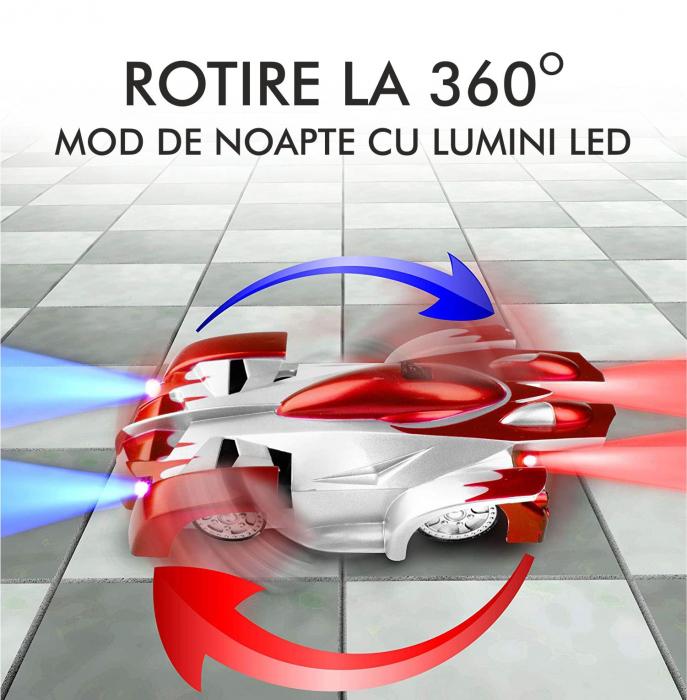 Masinuta Magic Car, Smartic, urca pe tavan, perete, fereastra si podea, +3 ani, rosu 3