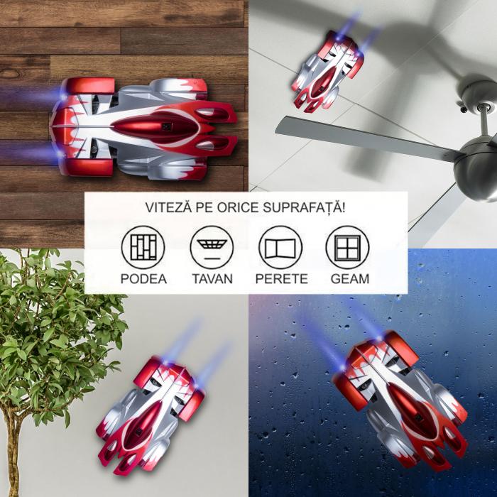 Masinuta Magic Car, Smartic, urca pe tavan, perete, fereastra si podea, +3 ani, rosu 1