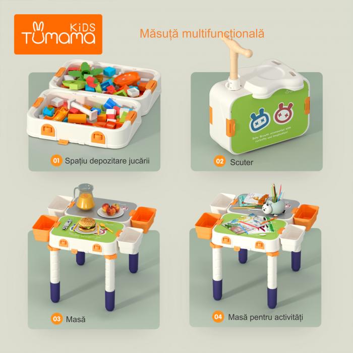 Masuta modulara cu scaunel  2 in 1 pentru copii, cu doua fete,  +3 ani, plastic, Tumama®, multicolor [3]