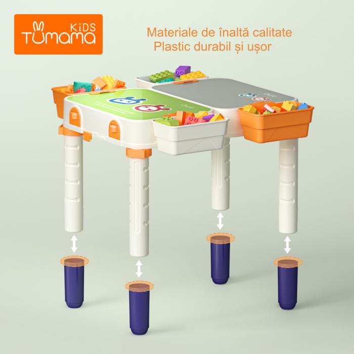 Masuta modulara cu scaunel  2 in 1 pentru copii, cu doua fete,  +3 ani, plastic, Tumama®, multicolor [8]
