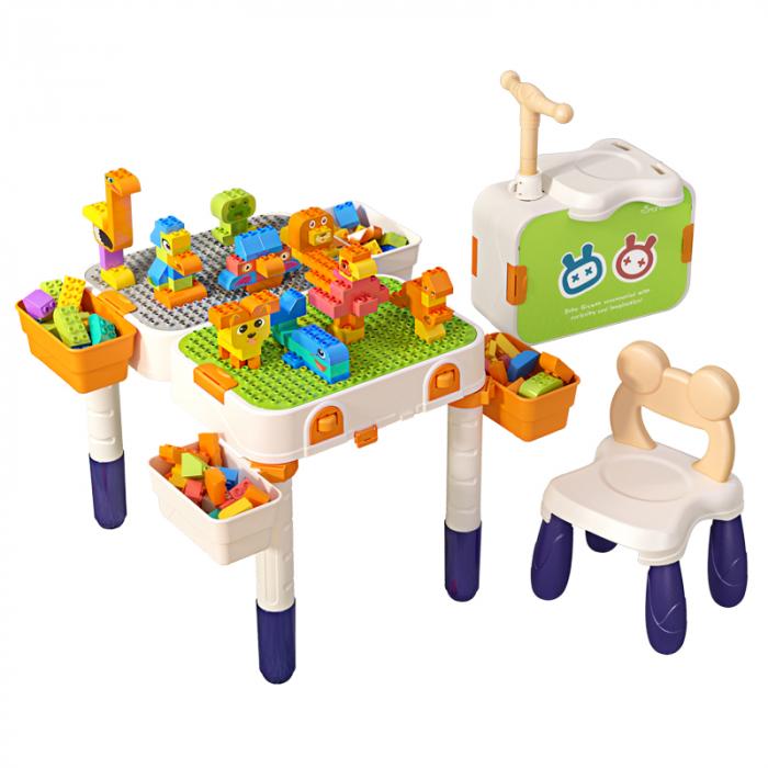 Masuta modulara cu scaunel  2 in 1 pentru copii, cu doua fete,  +3 ani, plastic, Tumama®, multicolor [1]