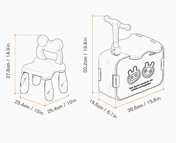 Masuta modulara cu scaunel  2 in 1 pentru copii, cu doua fete,  +3 ani, plastic, Tumama®, multicolor [9]