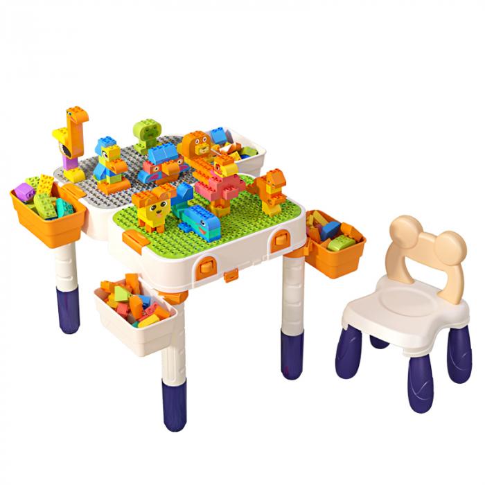 Masuta modulara cu scaunel  2 in 1 pentru copii, cu doua fete,  +3 ani, plastic, Tumama®, multicolor [0]