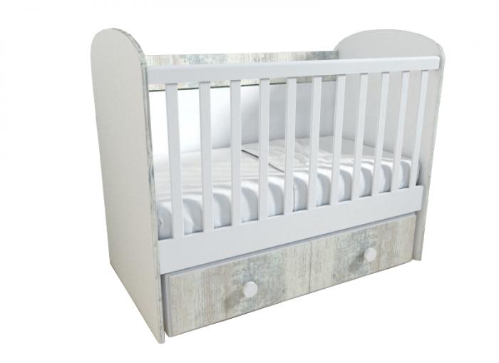 Patut pentru bebelusi cu sistem de leganare, Design Modern, 120x60 cm, Smartic®, alb [0]