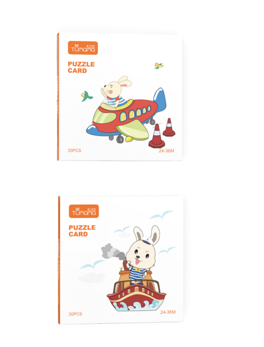 Puzzle Educational 2 in 1 Tumama® pentru bebelusi si copii, Material Carton, cu Animale si Masini, Varsta 0-3 ani,  40 piese, multicolor [8]
