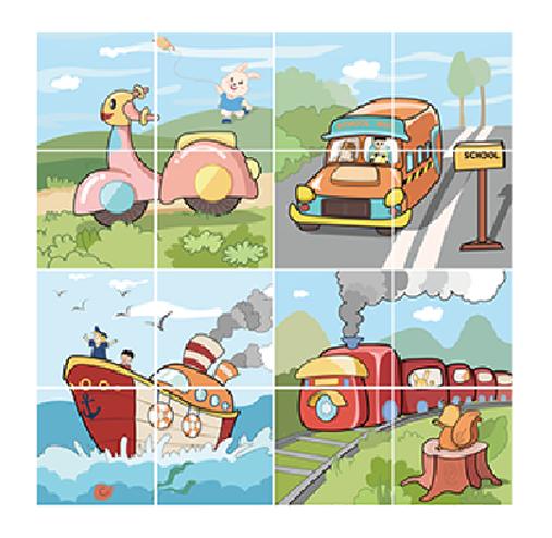 Puzzle Educational 2 in 1 Tumama® pentru bebelusi si copii, Material Carton, cu Animale si Masini, Varsta 0-3 ani,  40 piese, multicolor [7]
