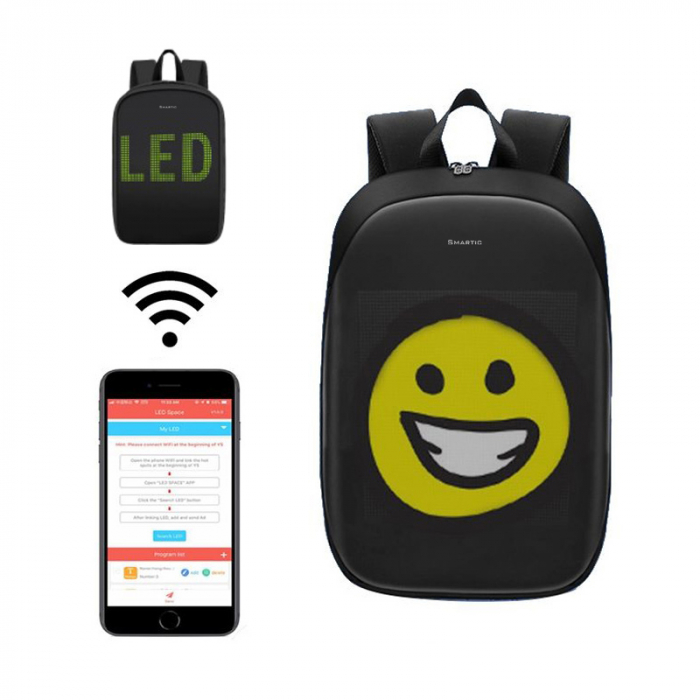 Rucsac Smartic cu ecran LED, negru 1