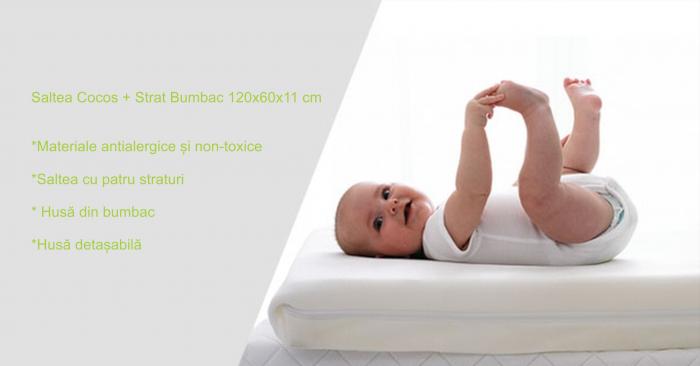 Saltea pentru Bebelusi,  Fibra Cocos+Strat Bumbac 120x60x11 cm, Husa Bumbac Antialergica si Lavabila, cu 2 fete, Alb 4