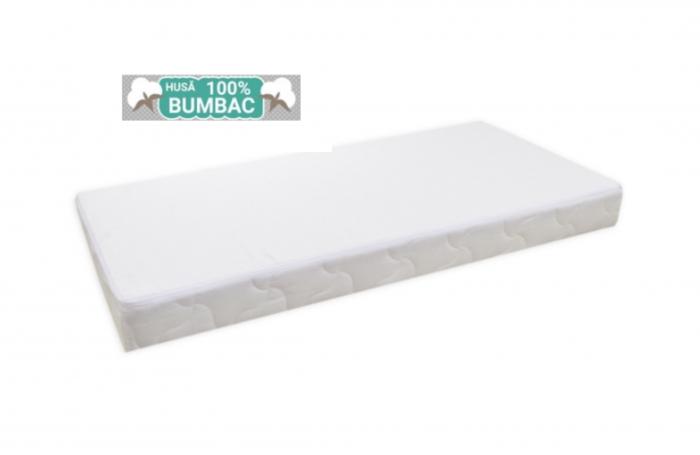 Saltea pentru Bebelusi,  Fibra Cocos+Strat Bumbac 120x60x11 cm, Husa Bumbac Antialergica si Lavabila, cu 2 fete, Alb 3
