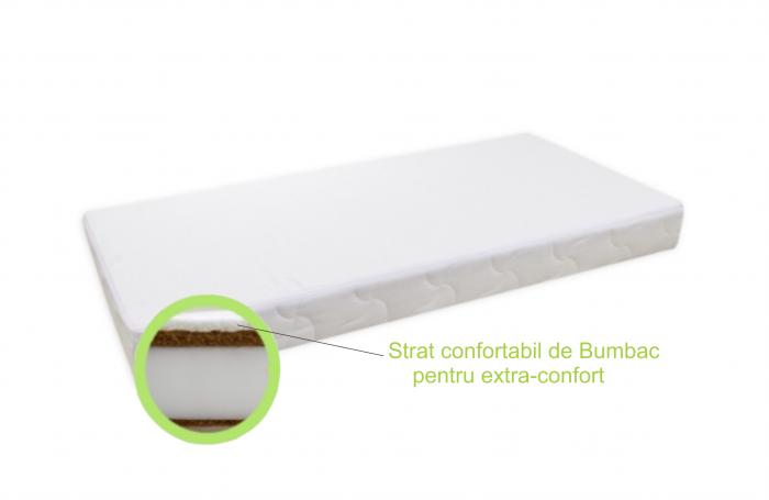 Saltea pentru Bebelusi,  Fibra Cocos+Strat Bumbac 120x60x11 cm, Husa Bumbac Antialergica si Lavabila, cu 2 fete, Alb 1