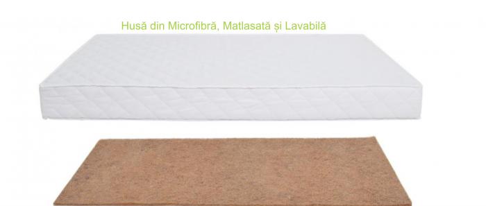 Saltea pentru Bebelusi,  Fibra de Cocos Integral 140x70x6 cm, Husa Microfibra Matlasata, Lavabila si Antialergica, Alb 5