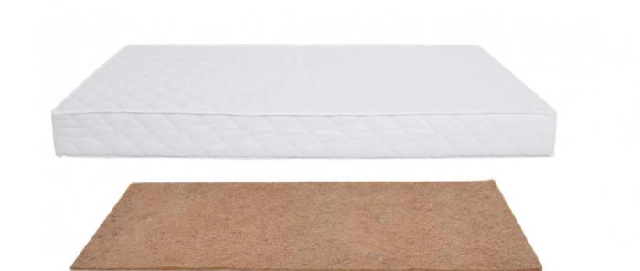 Saltea pentru Bebelusi,  Fibra de Cocos Integral 140x70x6 cm, Husa Microfibra Matlasata, Lavabila si Antialergica, Alb 2