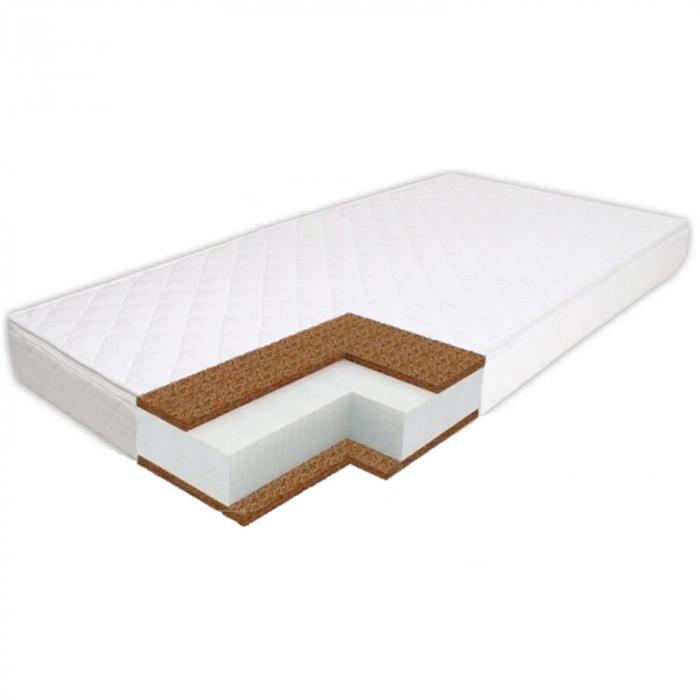 Saltea pentru Bebelusi Somn Usor, 105x70x8 cm, Fibra de Cocos, Husa Antialergica & Lavabila, Alb 2