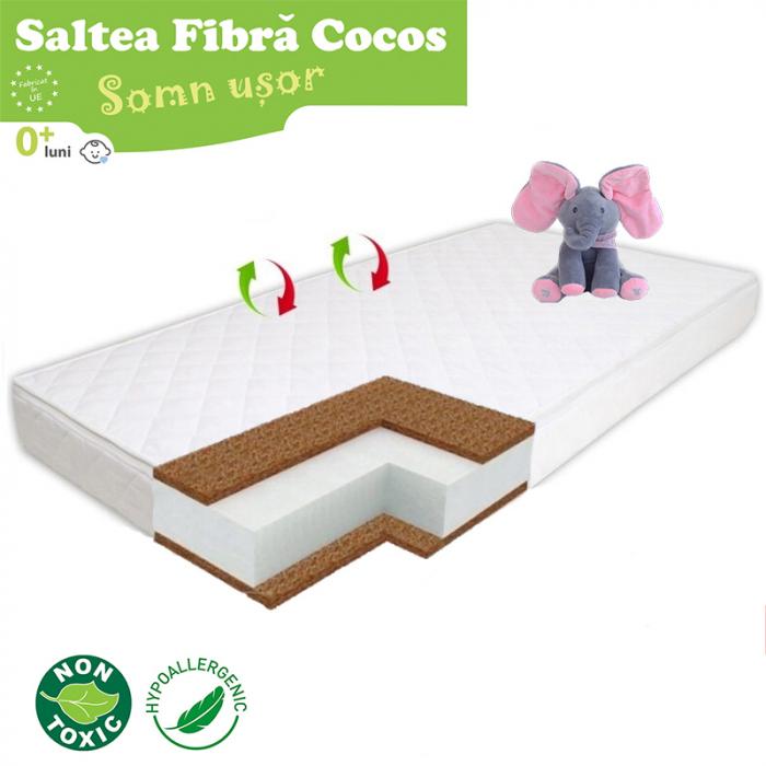 Saltea pentru Bebelusi Somn Usor, 140x70x10 cm, Fibra de Cocos, Husa Antialergica & Lavabila, Alb [1]