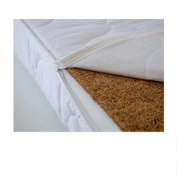 Saltea pentru Bebelusi Vise Placute, 140x70x10 cm, Fibra de Cocos, Husa Bumbac 100% Antialergica & Lavabila, Alb 6