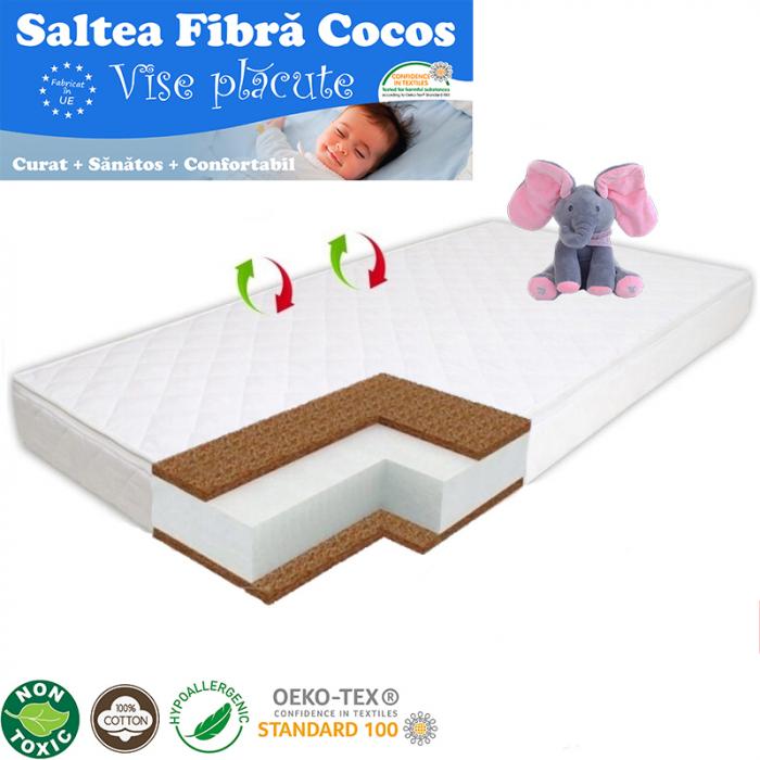 Saltea pentru Bebelusi Vise Placute, 140x70x10 cm, Fibra de Cocos, Husa Bumbac 100% Antialergica & Lavabila, Alb 1