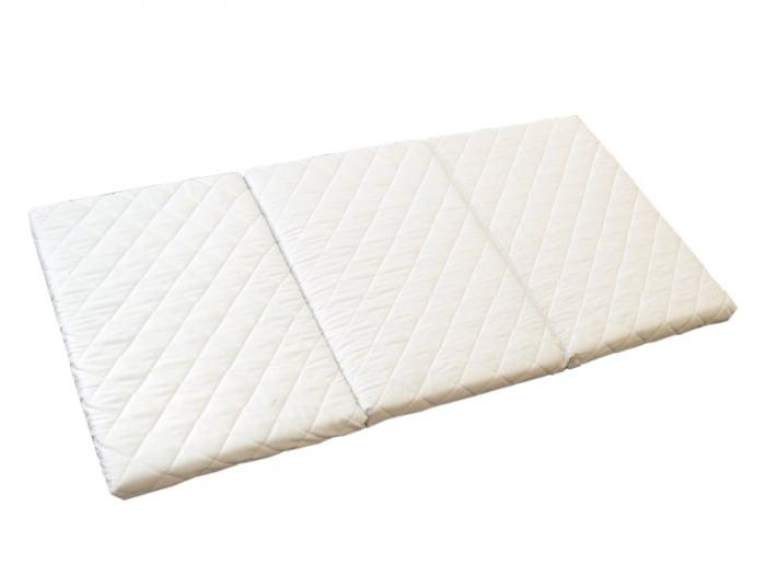 Saltea pliabila pentru copii, Cocos si Spuma Poliuretanica, Husa 100% Bumbac, Detasabila, 120x60x5 cm, Alb [1]
