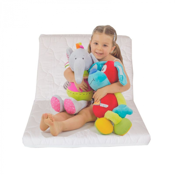 Saltea pliabila pentru copii, Cocos si Spuma Poliuretanica, Husa 100% Bumbac, Detasabila, 120x60x5 cm, Alb [8]