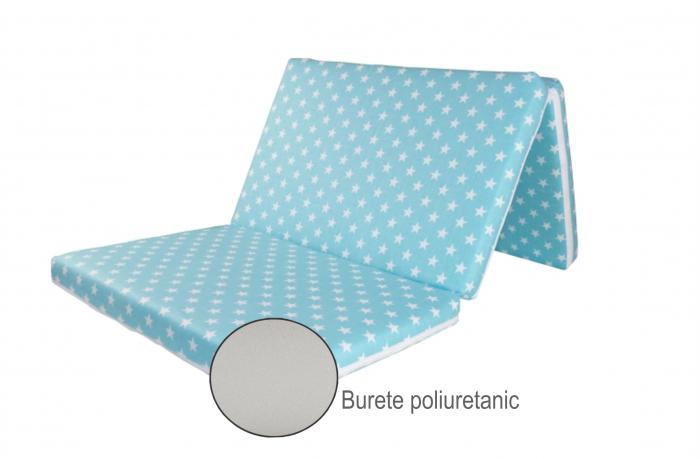 Saltea pliabila pentru copii, Spuma Poliuretanica, Husa 100% Bumbac, Detasabila, 120x60x5 cm, Albastru [3]