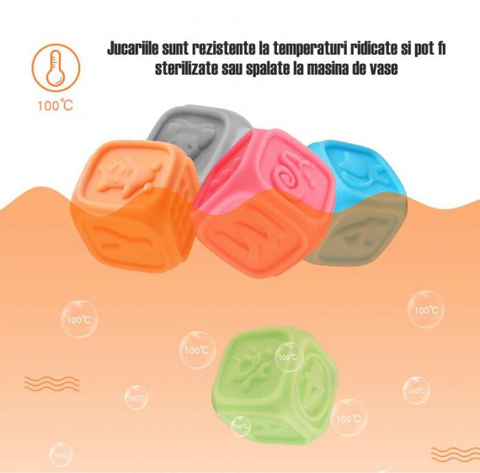 Set 10 cuburi educative din silicon Tumama®, cu modele 3D, pentru dentitia copiilor, multicolor 4