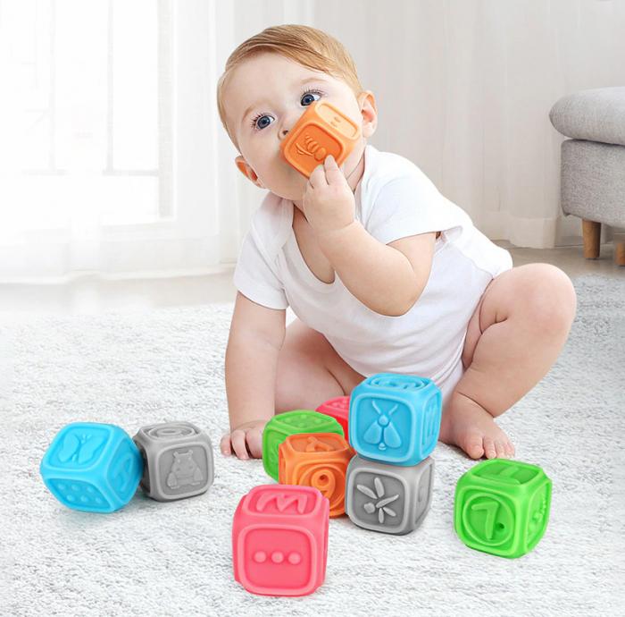 Set 10 cuburi educative din silicon Tumama®, cu modele 3D, pentru dentitia copiilor, multicolor 3